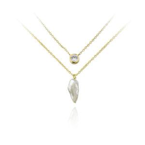 Gargantilla de plata con perlas y circonita