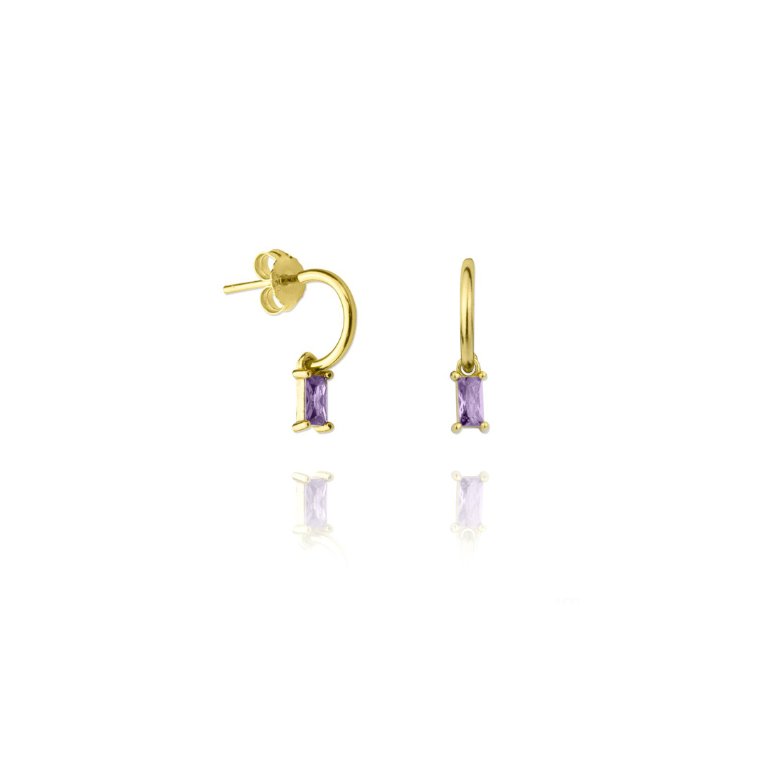 violet and gold earrings